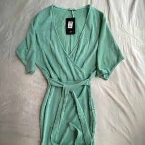 Teal Wrap tie Ribbed Midi Dress